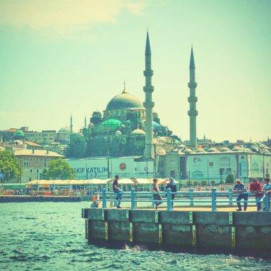 Istanbul, Turkey - July 17, 2018: People at Eminonu pier in Istanbul stock vector