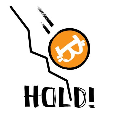 Hold! - Falling Bitcoin and downward chart graph
