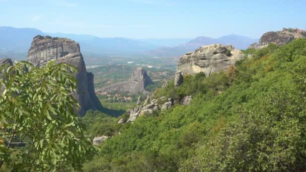 Greek landscape with Meteora rocks, Kalambaka, Thessaly, Greece