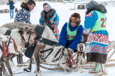 Russkinskie, Surgut, KhMAO-Ugra, Siberia, Russia, 2019.03.23. National holiday of reindeer herders, hunters, fishermen.