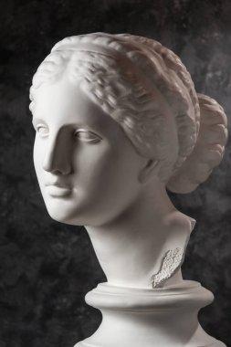 Gypsum copy of ancient statue Venus head on a dark textured background. Plaster sculpture woman face.