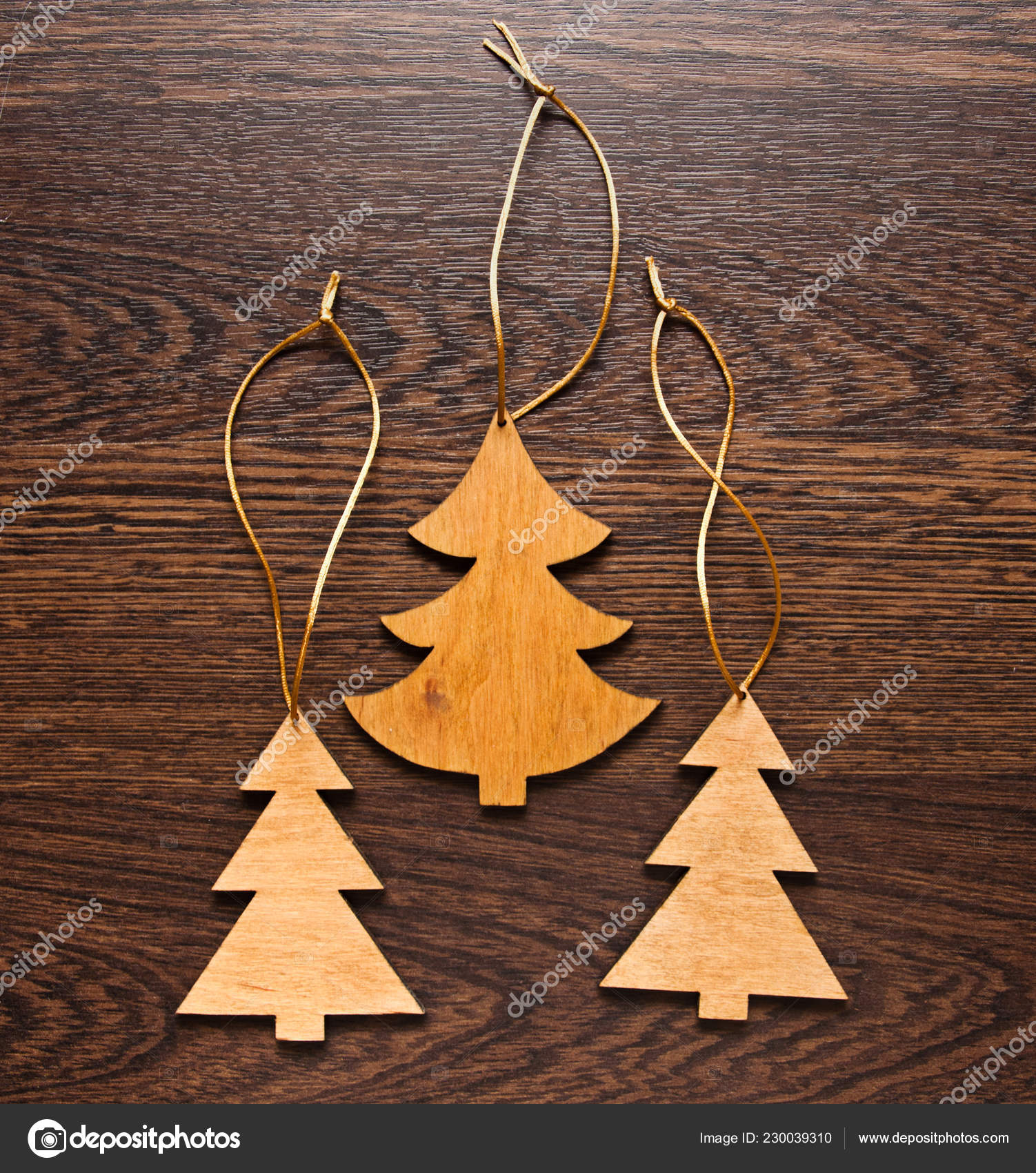 Three Handmade Wooden Christmas Trees Wooden Background Christmas Decorations Toys Stock Photo C Nataly0288dp 230039310