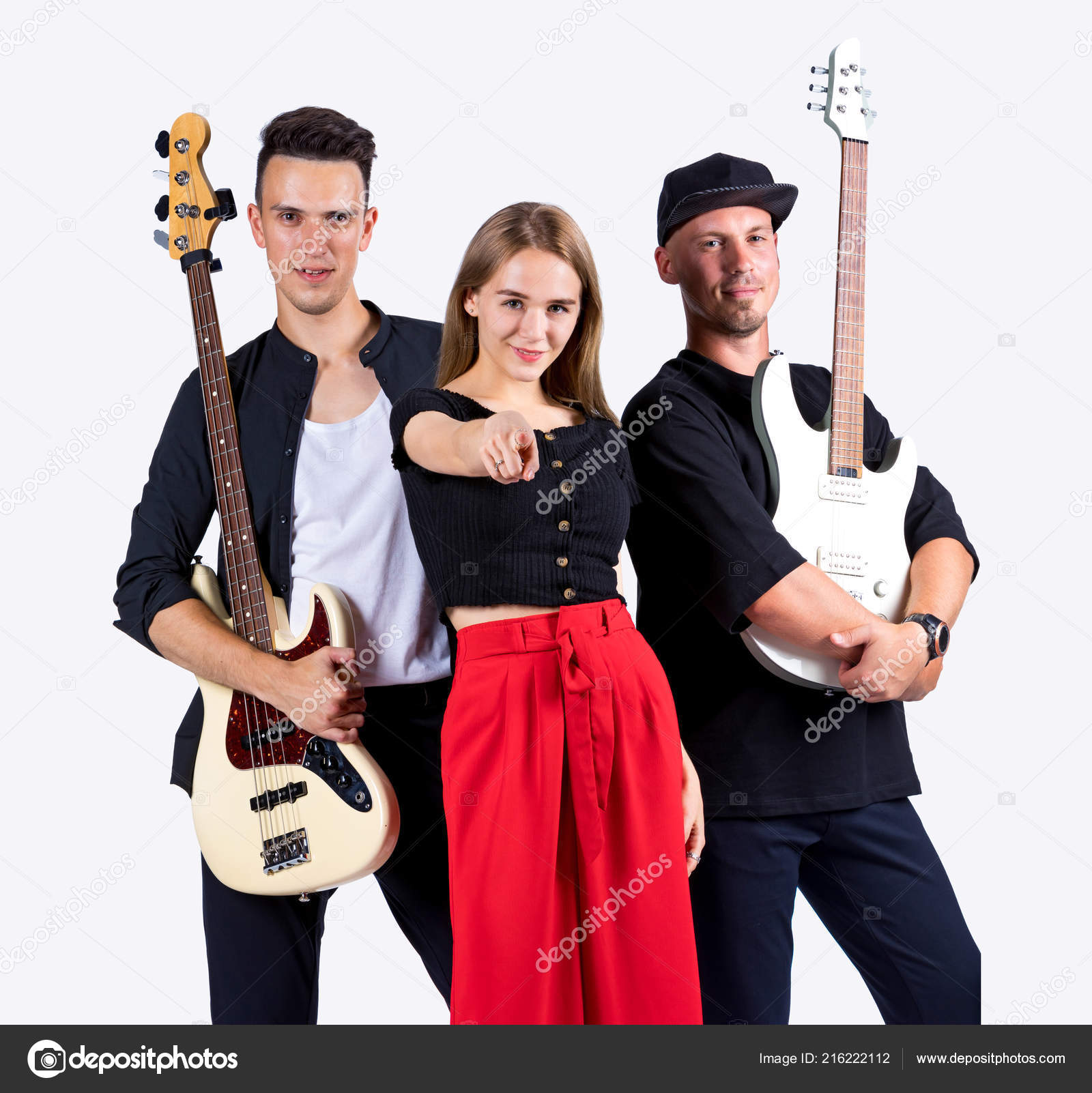 Rock Band Two Guitarists Singer White Background — Stock
