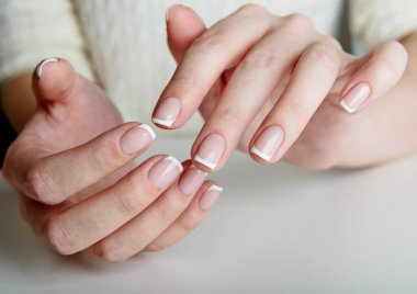 French manicured female hands