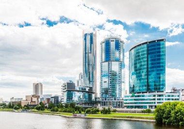 View of quay wharf embankment Yekaterinburg City. 202