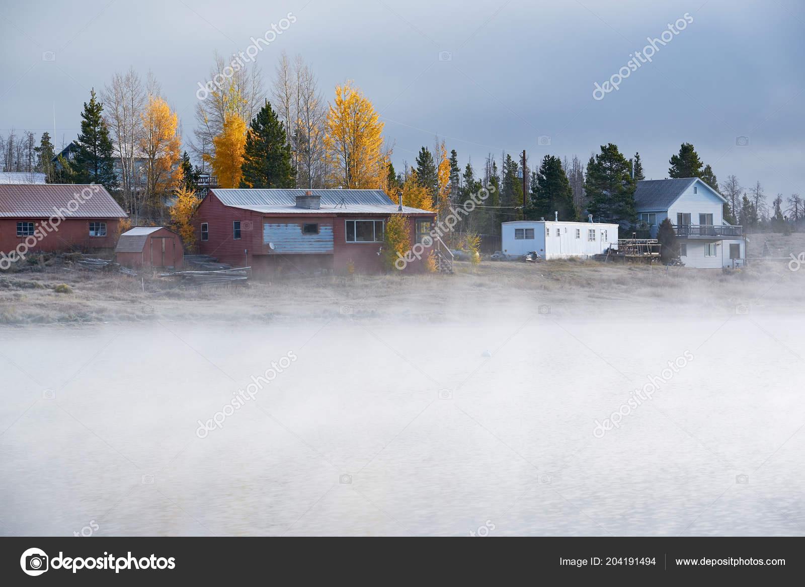Morgen Nebel Nebeligen Herbstlandschaft Shadow Mountain Lake Rocky