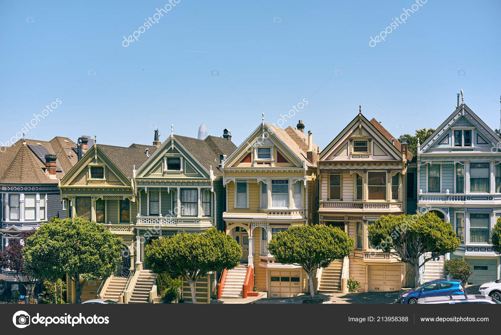 Painted Ladies Victorian Style Houses Viewed Alamo Square San - How-to-paint-a-victorian-style-home