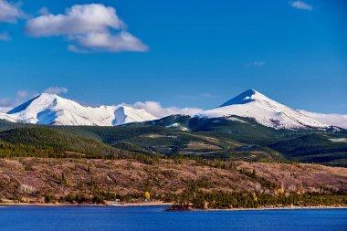 Dillon Reservoir and Swan Mountain in snow at autumn. Rocky Mountains, Colorado, USA.