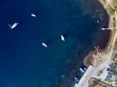 Fotografie Marina with yachts top aerial view drone shot, Sithonia, Greece