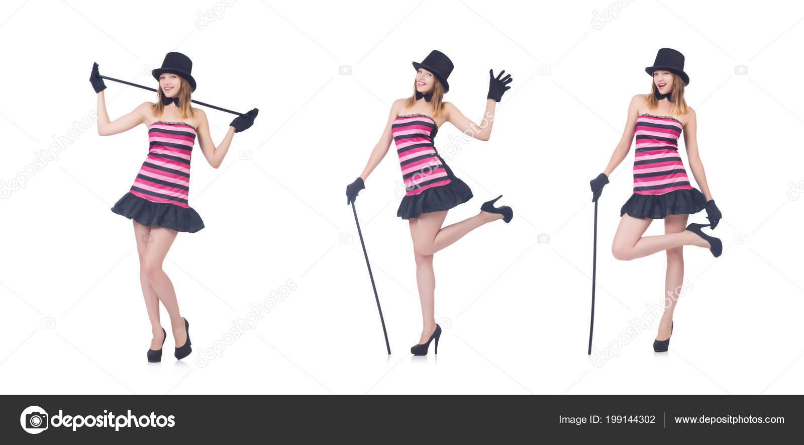 8532c4d74 Jovem mulher bonita dançando com bengala isolada no branco — Fotografia de  Stock