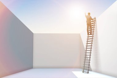 Businessman climbing a ladder to escape from problems