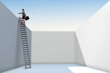 Businesswoman climbing a ladder to escape from problems stock vector