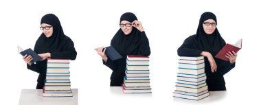 Young muslim female student with books stock vector