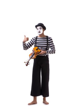 Mime playing violin isolated on white
