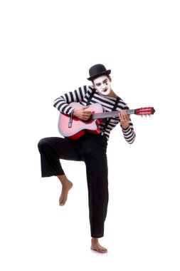 Mime playing guitar isolated on white