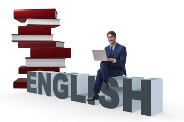 Young man in english studying learning concept