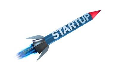 Rocket in business start-up concept - 3d rendering stock vector