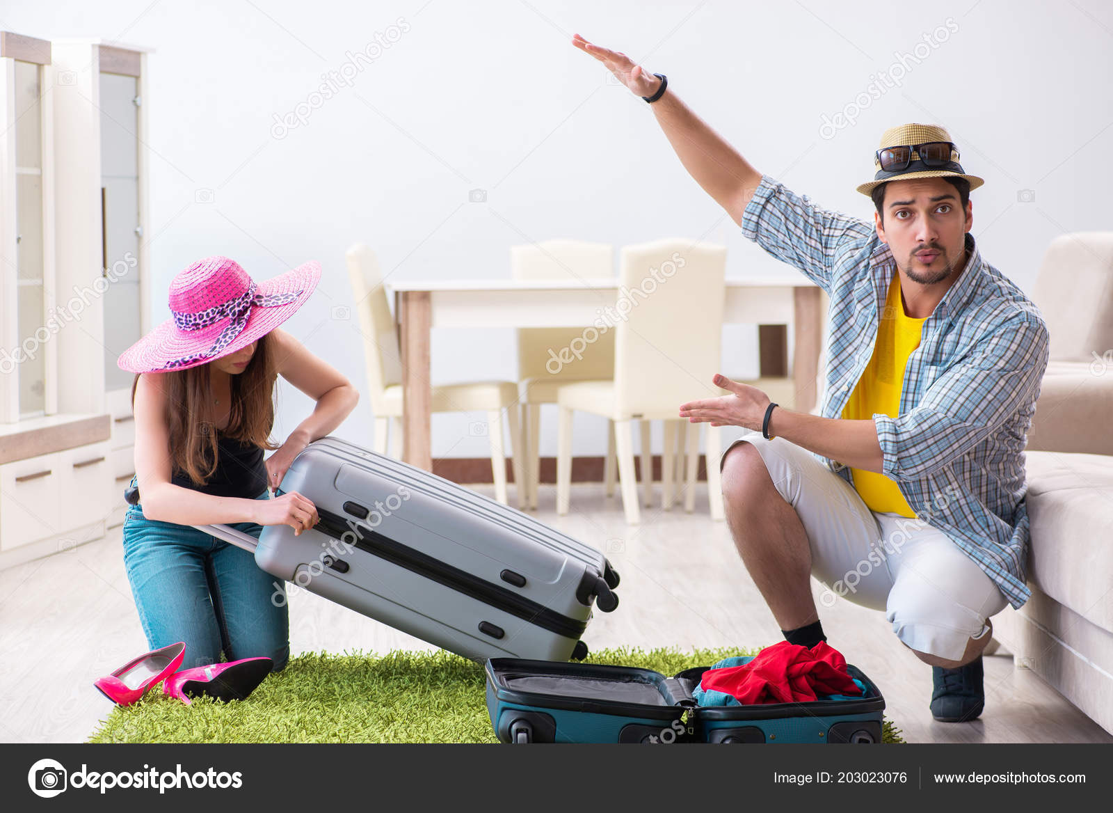 young family packing vacation travel stock photo elnur 203023076