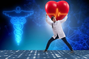 Doctor cardiologist supporting cardiogram heart line stock vector