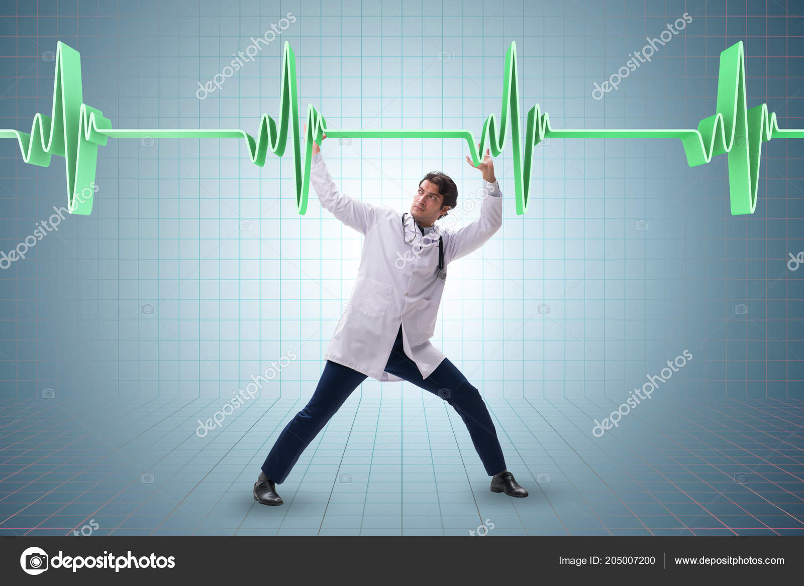 Doctor cardiologist supporting cardiogram heart line — Stock