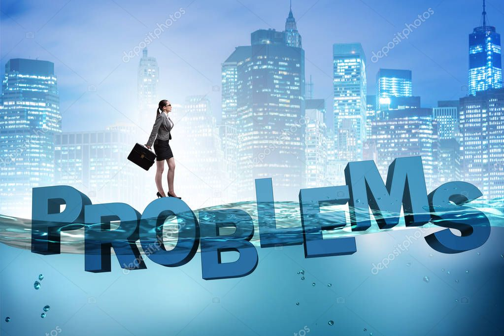 Businesswoman having problems in business concept