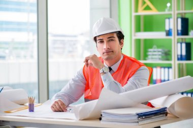 Man architect working on the project stock vector