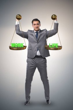 Businessman trying to find balance between home and work stock vector