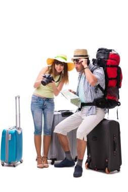 Young family preparing for vacation travel on white stock vector
