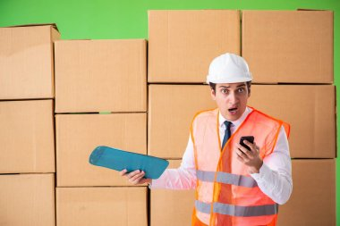 Man contractor working in box delivery relocation service stock vector