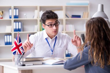 English language training with teacher and student