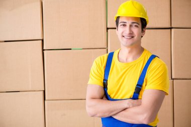 Man contractor working with boxes delivery stock vector