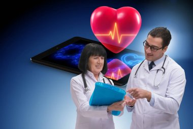 Telemedicine concept with remote monitoring of heart condition stock vector