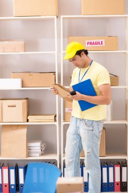 Handsome contractor working in box delivery relocation service stock vector