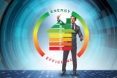 Geschäftsmann in Energie-Effizienz-Konzept