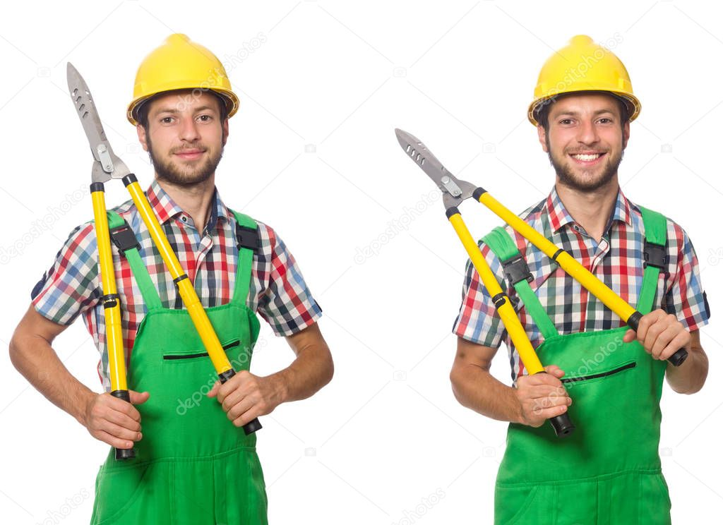 Worker with shears isolated on white