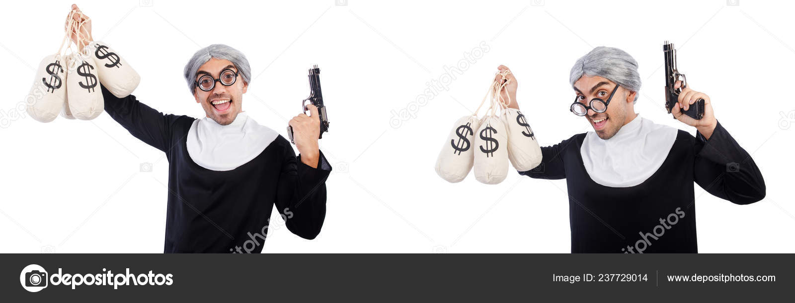 Hombre Vestido De Monja Con Arma De Fuego Y Saquitos Foto