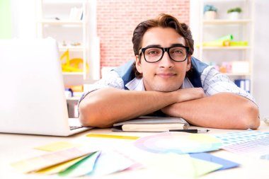 Young designer freelancer working on new project stock vector