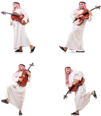 Arab man playing cello isolated on white