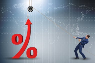 Businessman increasing interest rate in market