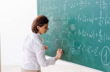 Female math teacher in front of the chalkboard