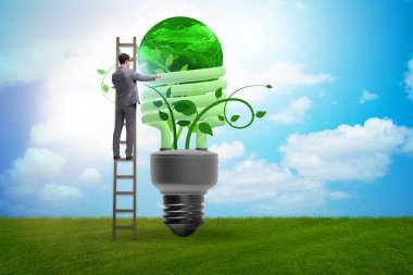 Concept of energy efficiency with lightbulb stock vector