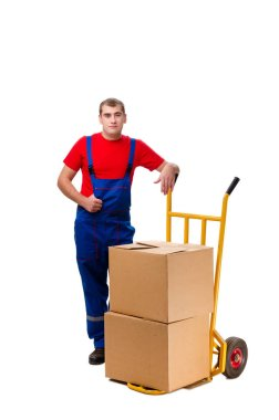 Young male courier with box isolated on white