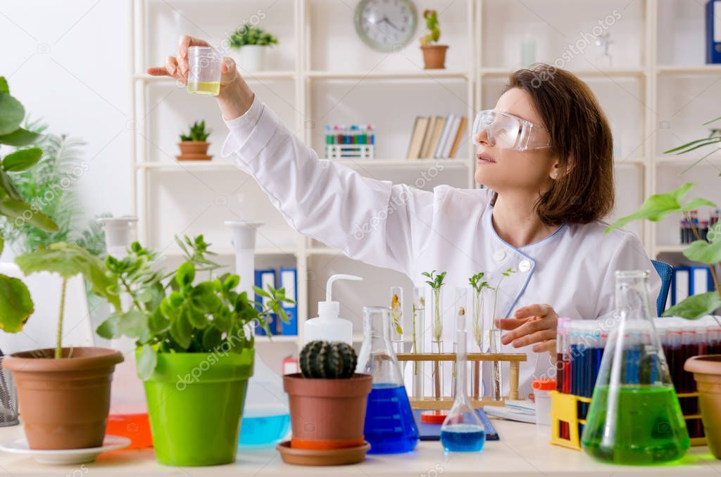 Old female biotechnology chemist working in the lab
