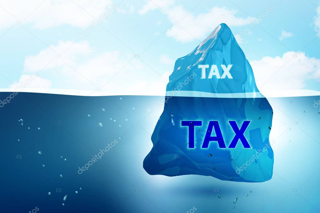 Tax payment concept with iceberg - 3d rendering