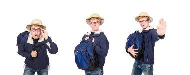 Funny student wearing safari hat