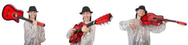 Young man with guitar isolated on white