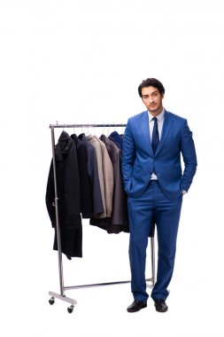 Young handsome businessman in clothing concept