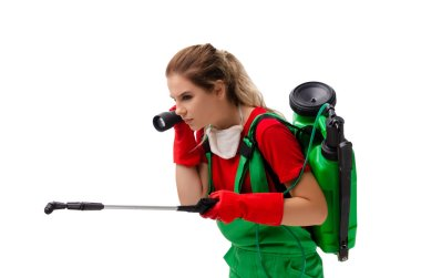 Female pest control contractor isolated on white