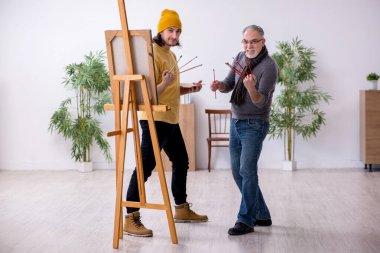 """Картина, постер, плакат, фотообои """"старик берет уроки у молодого художника"""", артикул 396762624"""