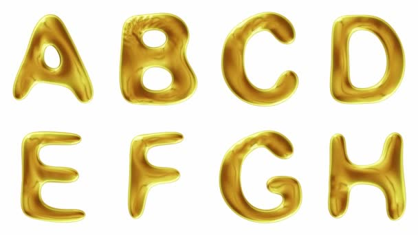Alphabet from gold isolated on white background.